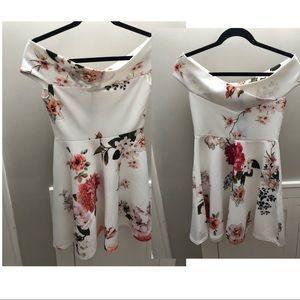 White and red floral off the shoulder skaterdress